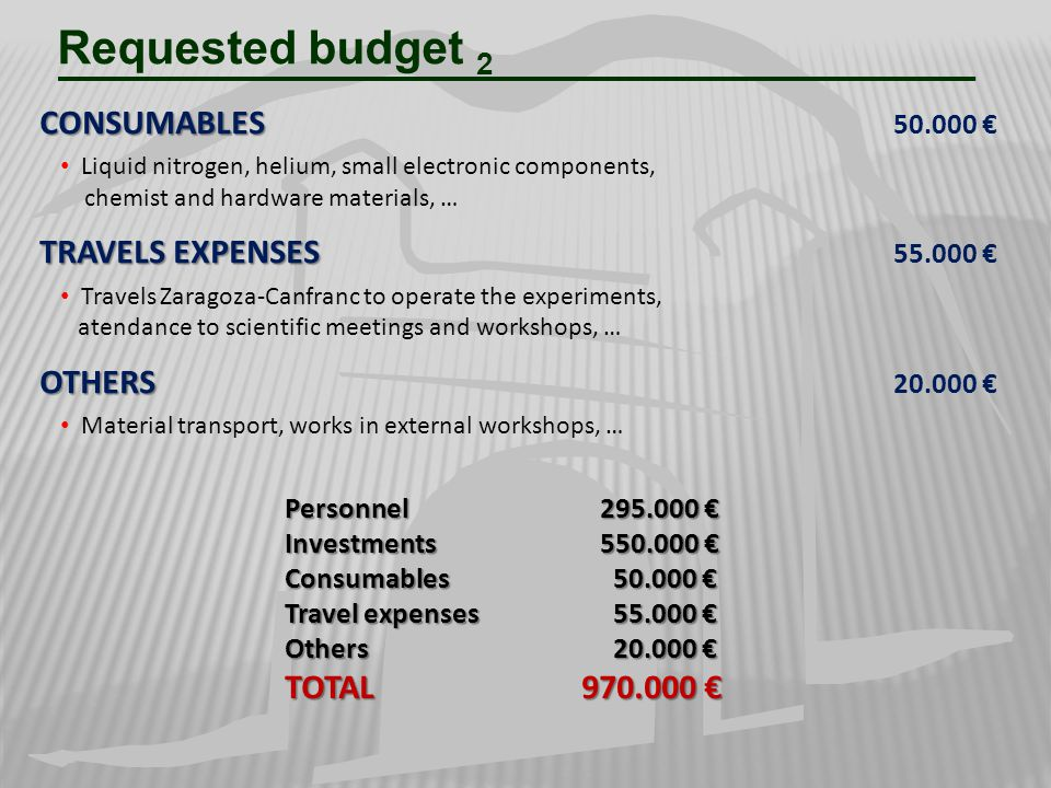Requested budget 2 CONSUMABLES 50.000 € TRAVELS EXPENSES 55.000 €