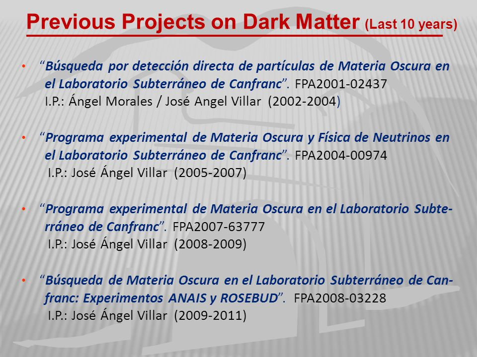 Previous Projects on Dark Matter (Last 10 years)
