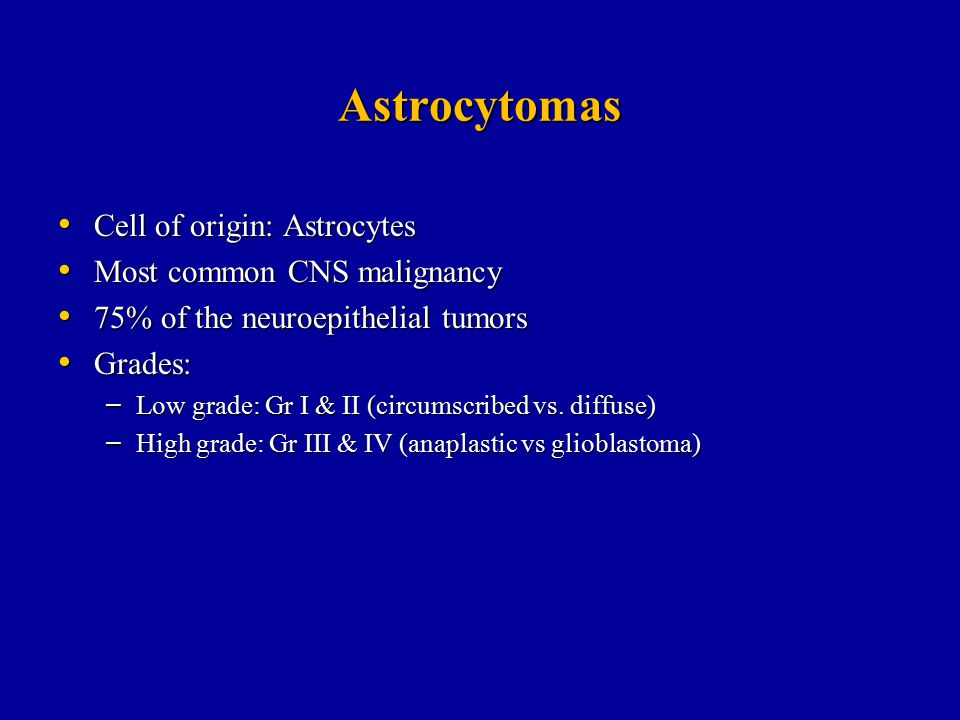 Astrocytomas Cell of origin: Astrocytes Most common CNS malignancy