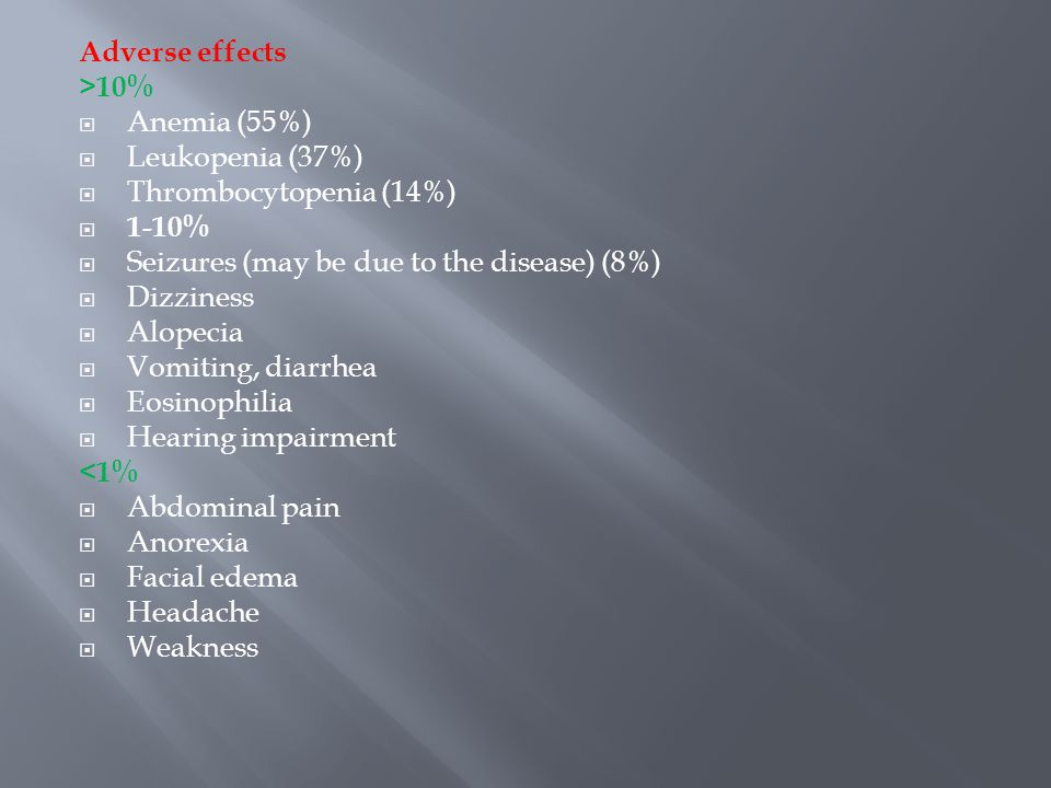Adverse effects >10% Anemia (55%) Leukopenia (37%) Thrombocytopenia (14%) 1-10% Seizures (may be due to the disease) (8%)