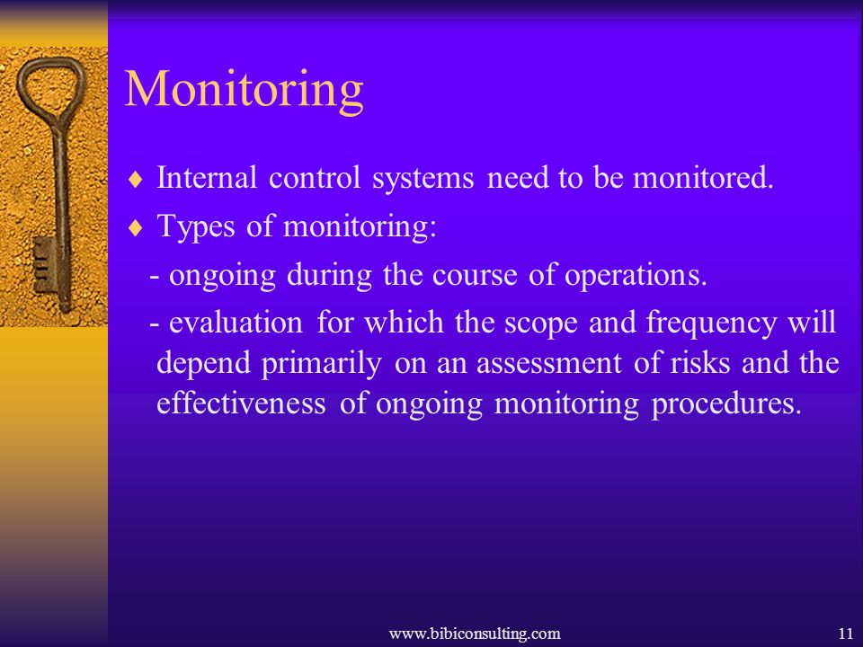 Monitoring Internal control systems need to be monitored.
