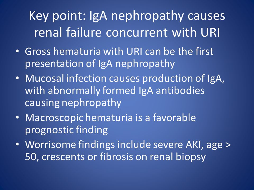Key point: IgA nephropathy causes renal failure concurrent with URI