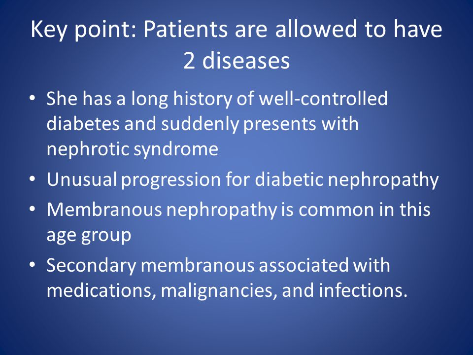Key point: Patients are allowed to have 2 diseases