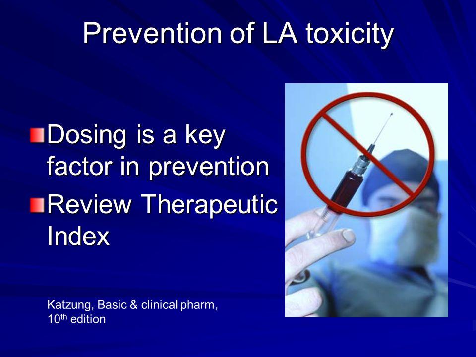 Prevention of LA toxicity