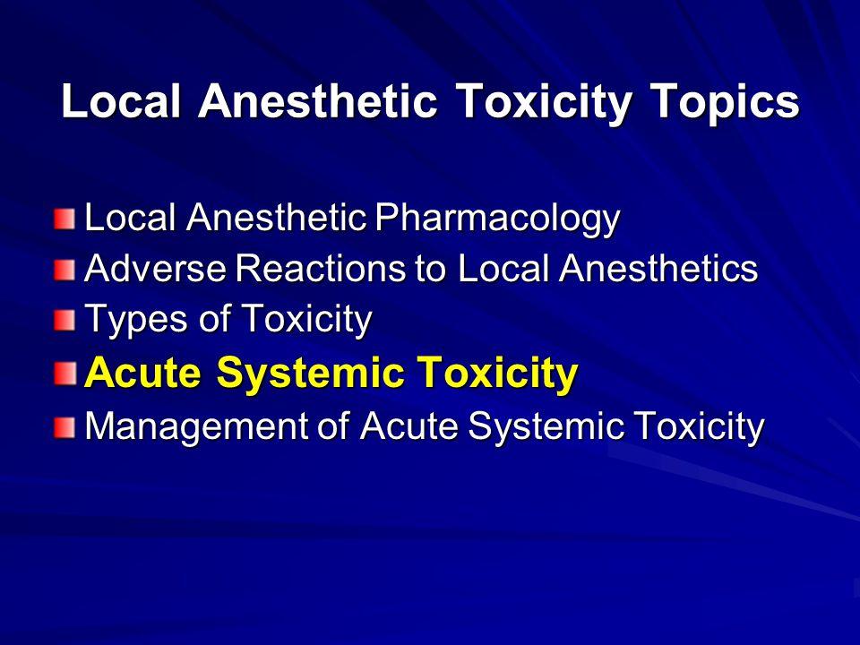 Local Anesthetic Toxicity Topics