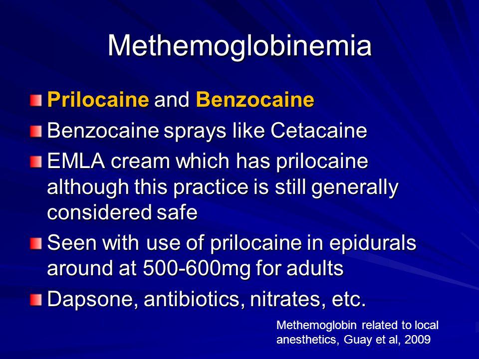 Methemoglobinemia Prilocaine and Benzocaine