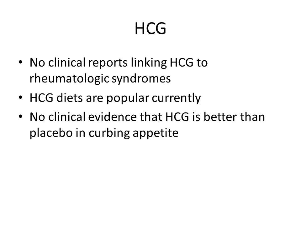 HCG No clinical reports linking HCG to rheumatologic syndromes