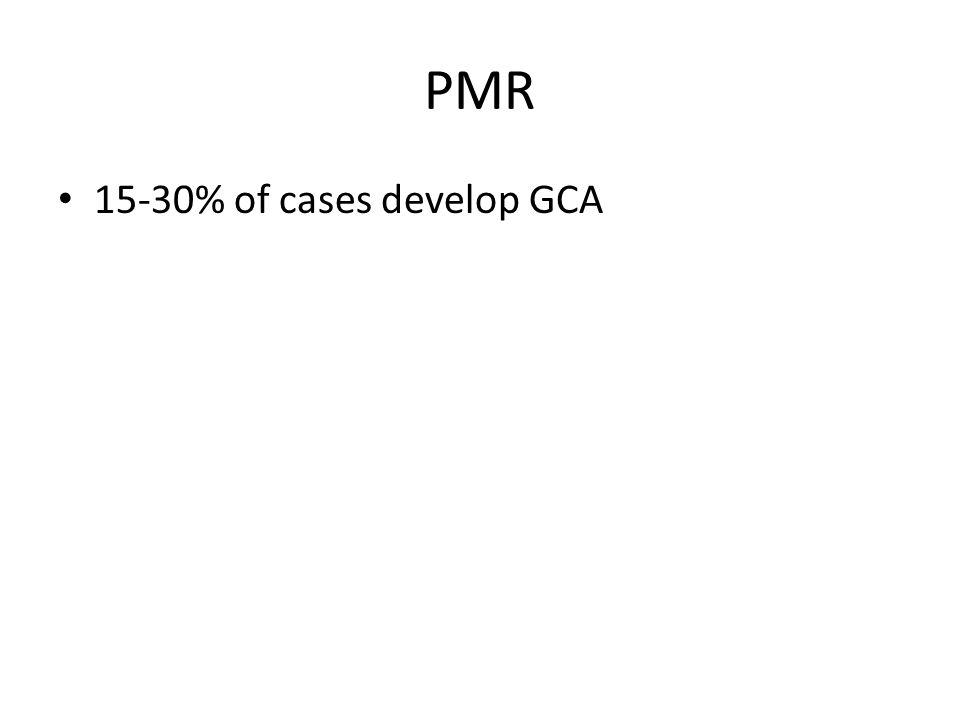 PMR 15-30% of cases develop GCA