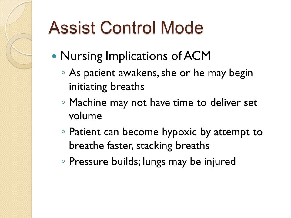 Assist Control Mode Nursing Implications of ACM