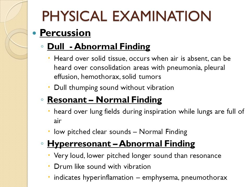 PHYSICAL EXAMINATION Percussion Dull - Abnormal Finding