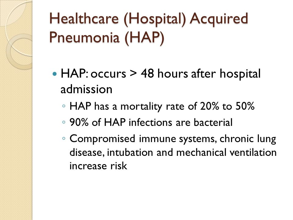 Healthcare (Hospital) Acquired Pneumonia (HAP)