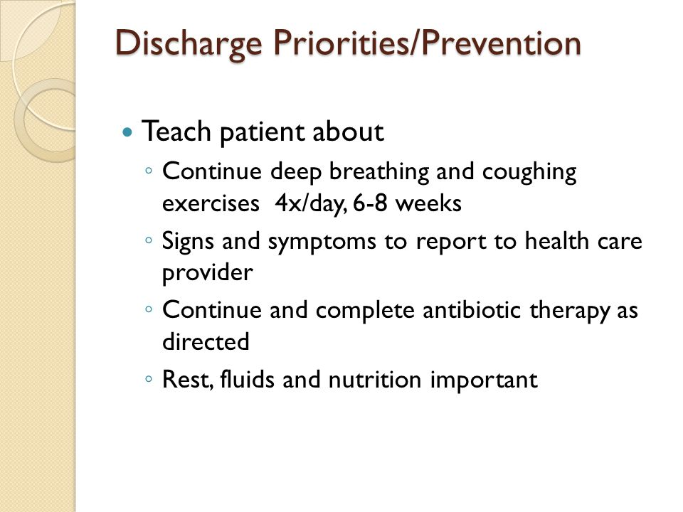 Discharge Priorities/Prevention