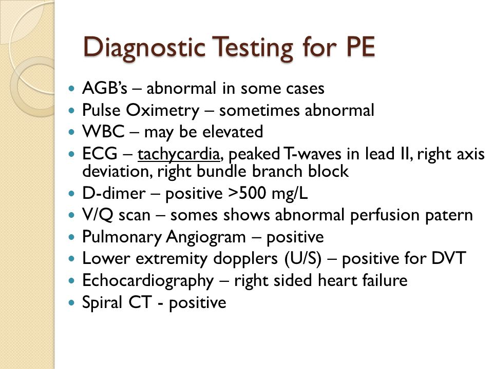 Diagnostic Testing for PE