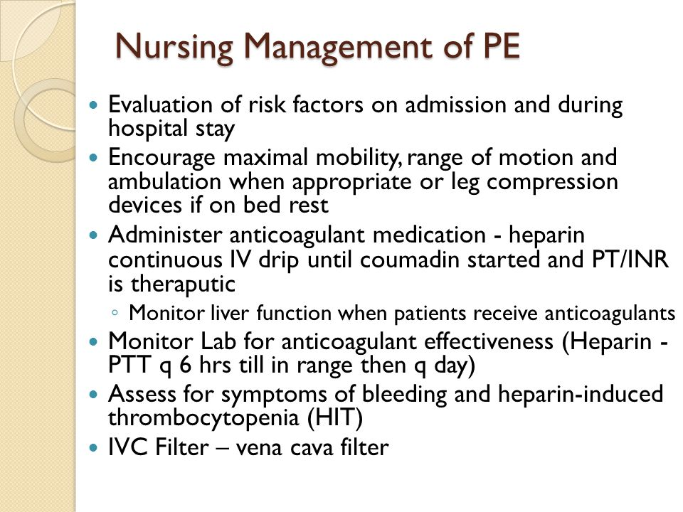Nursing Management of PE