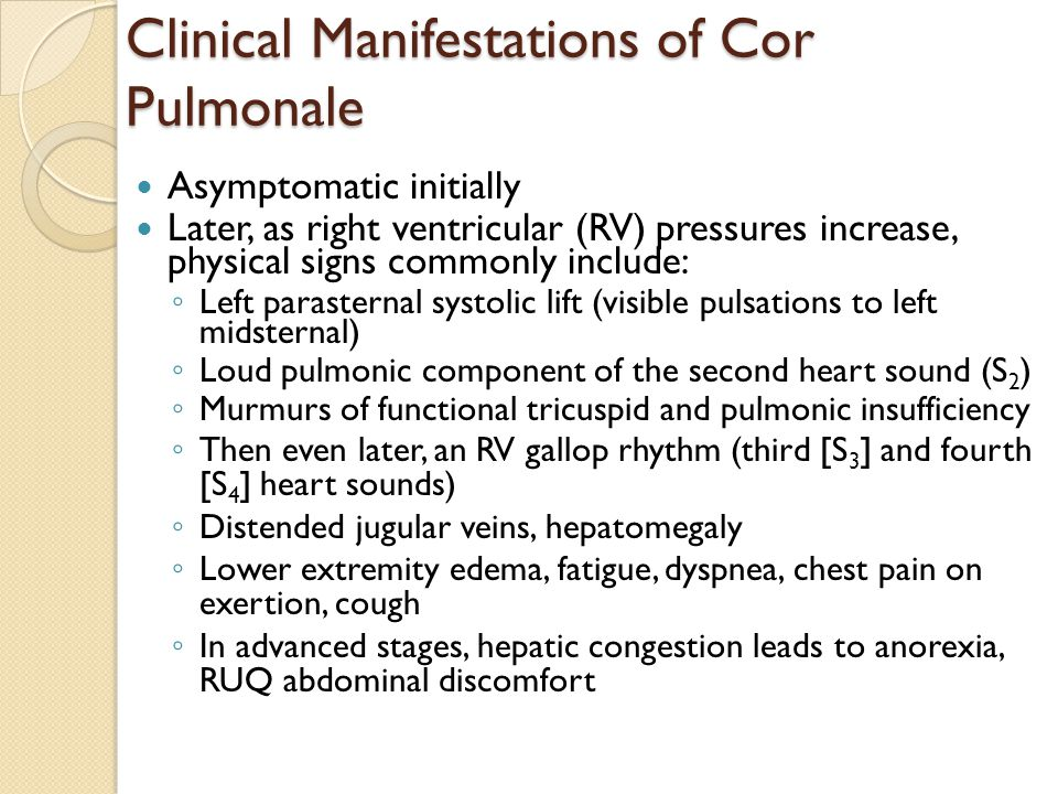 Clinical Manifestations of Cor Pulmonale