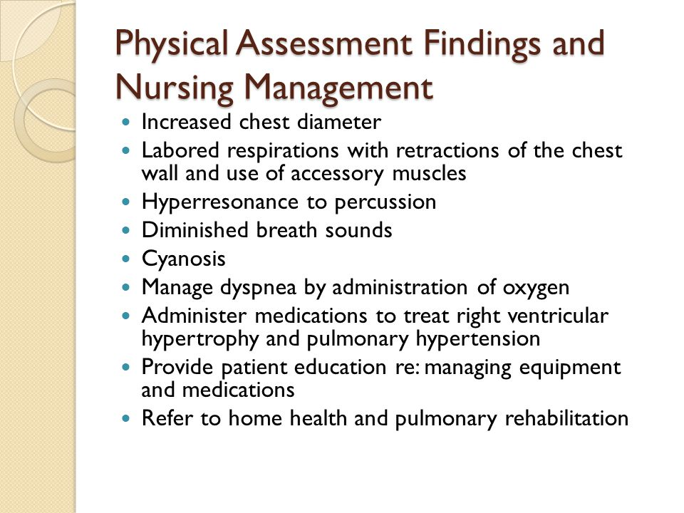 Physical Assessment Findings and Nursing Management