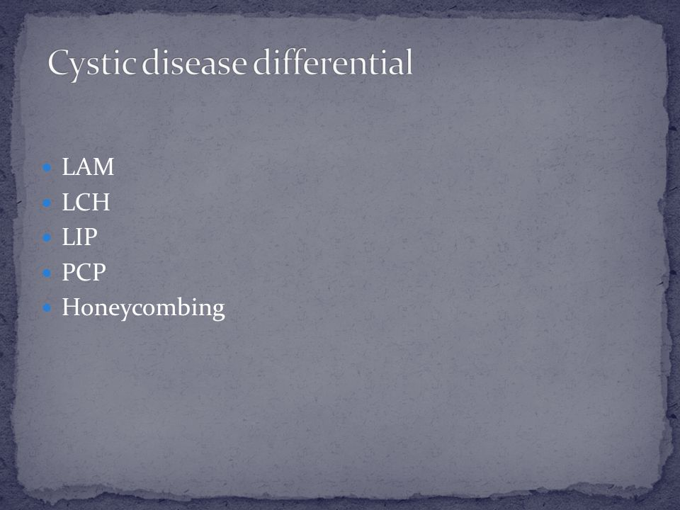 Cystic disease differential