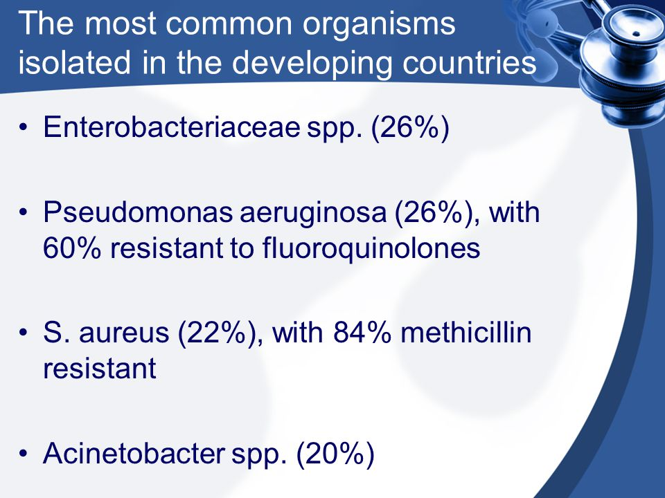 The most common organisms isolated in the developing countries
