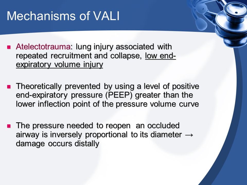 Mechanisms of VALI Atelectotrauma: lung injury associated with repeated recruitment and collapse, low end-expiratory volume injury.