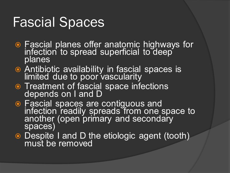 Fascial Spaces Fascial planes offer anatomic highways for infection to spread superficial to deep planes.