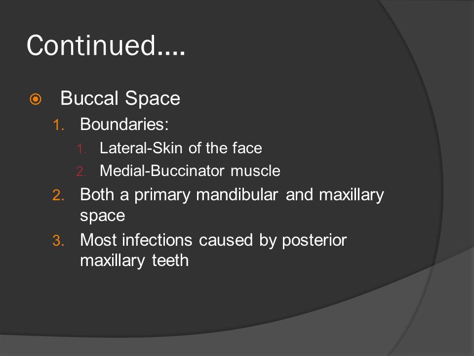 Continued…. Buccal Space Boundaries: