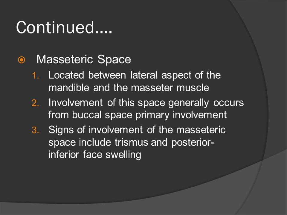 Continued…. Masseteric Space