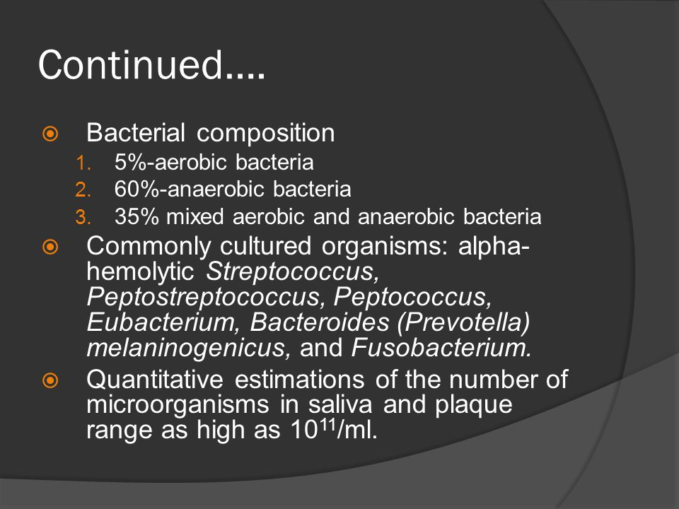 Continued…. Bacterial composition