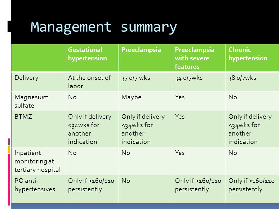 Management summary Gestational hypertension Preeclampsia