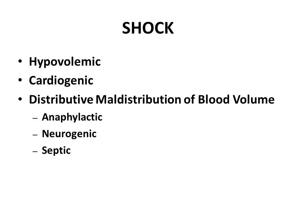 SHOCK Hypovolemic Cardiogenic