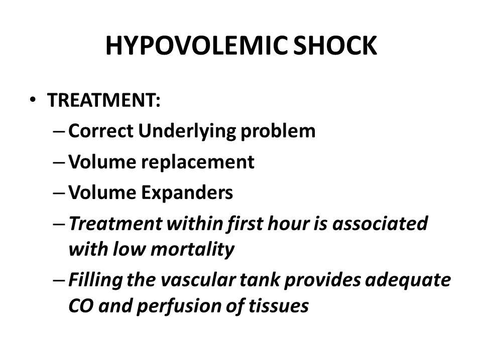 HYPOVOLEMIC SHOCK TREATMENT: Correct Underlying problem
