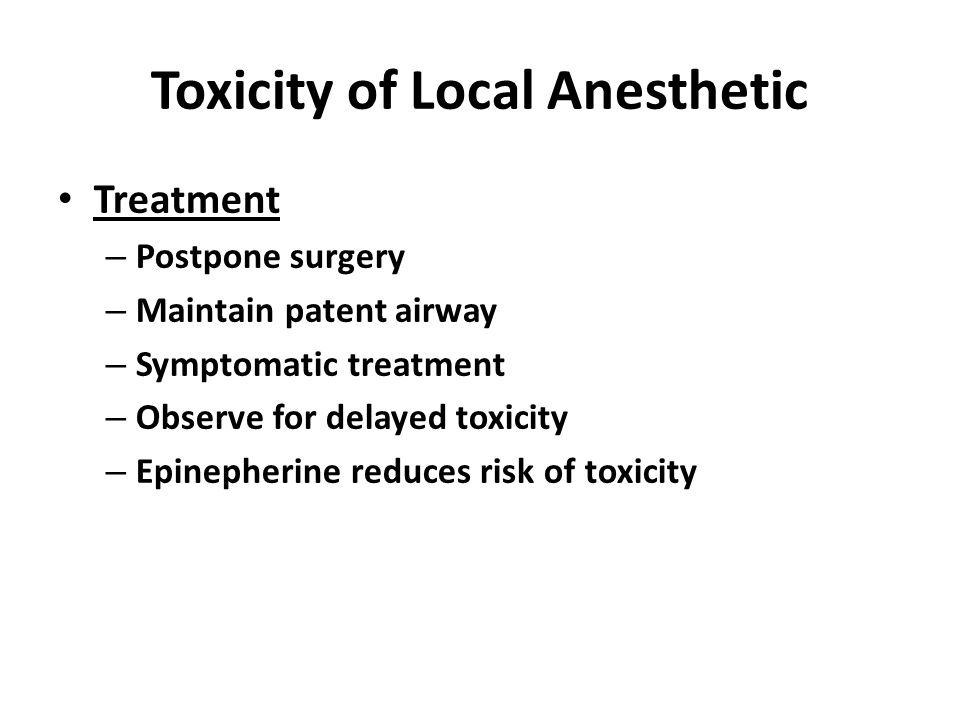 Toxicity of Local Anesthetic