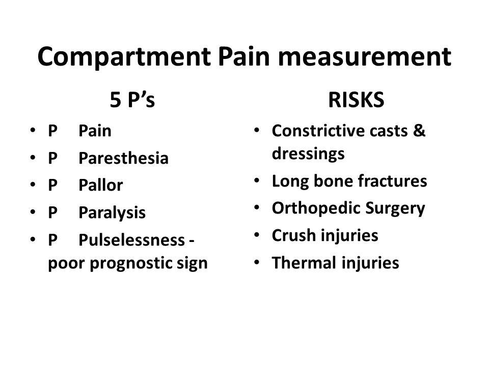 Compartment Pain measurement
