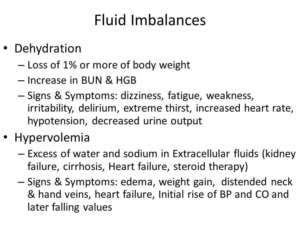 Fluid Imbalances Dehydration Hypervolemia
