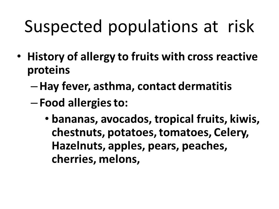 Suspected populations at risk