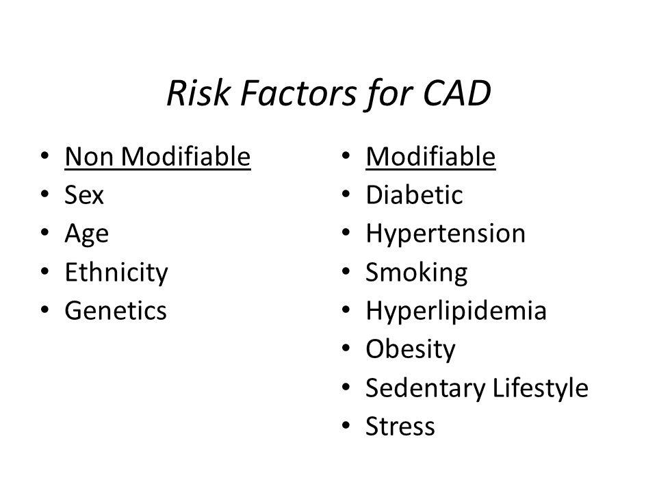 Risk Factors for CAD Non Modifiable Sex Age Ethnicity Genetics