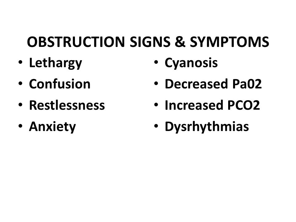 OBSTRUCTION SIGNS & SYMPTOMS