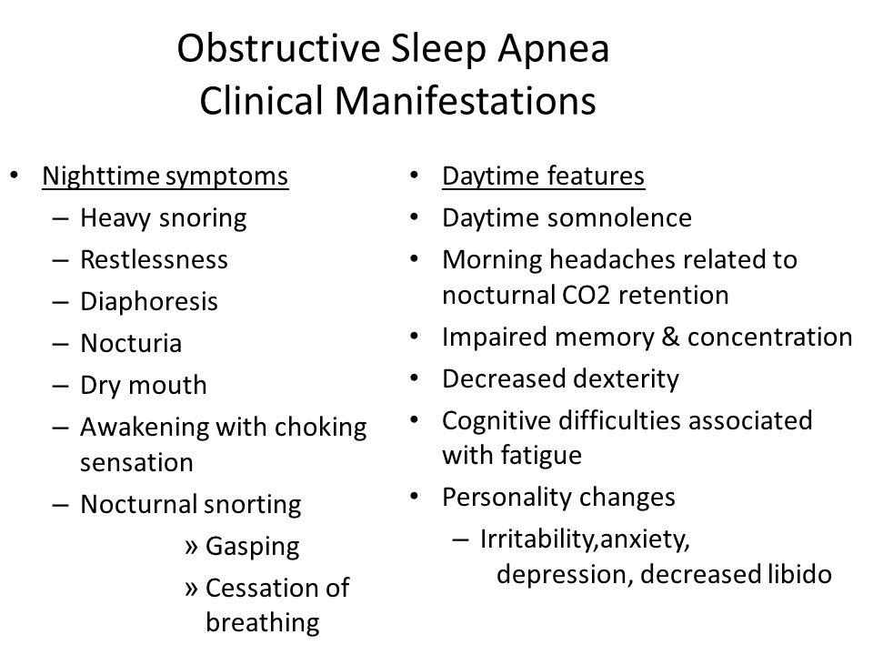 Obstructive Sleep Apnea Clinical Manifestations