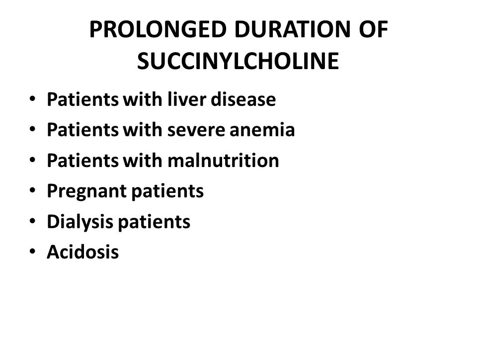 PROLONGED DURATION OF SUCCINYLCHOLINE