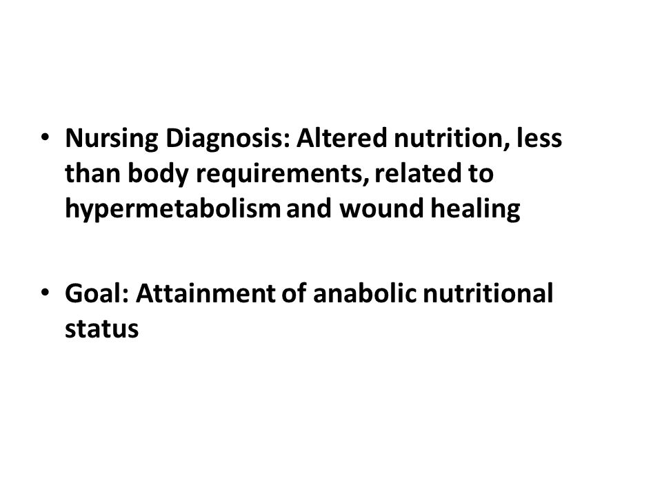 Nursing Diagnosis: Altered nutrition, less than body requirements, related to hypermetabolism and wound healing