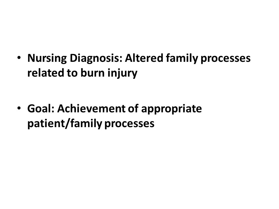 Nursing Diagnosis: Altered family processes related to burn injury