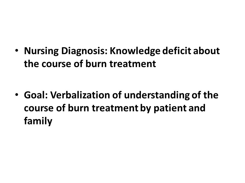 Nursing Diagnosis: Knowledge deficit about the course of burn treatment