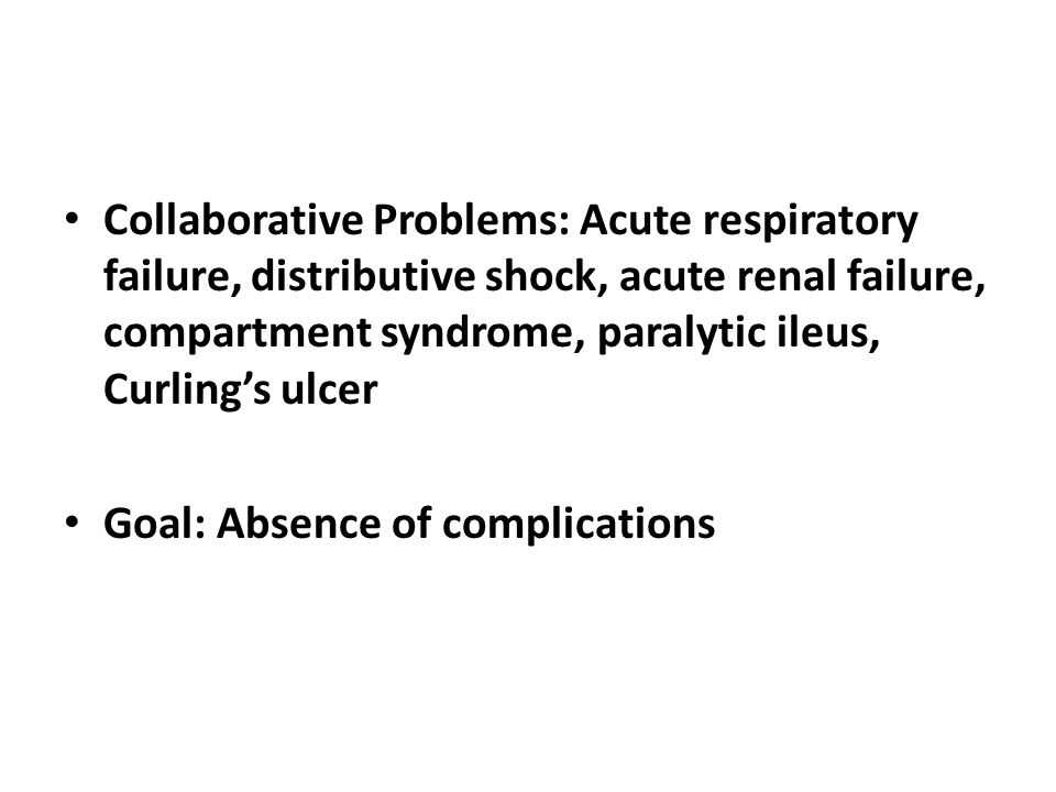Collaborative Problems: Acute respiratory failure, distributive shock, acute renal failure, compartment syndrome, paralytic ileus, Curling's ulcer