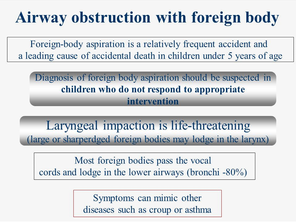 Airway obstruction with foreign body