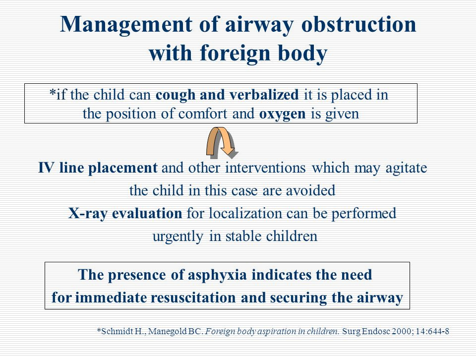 Management of airway obstruction with foreign body