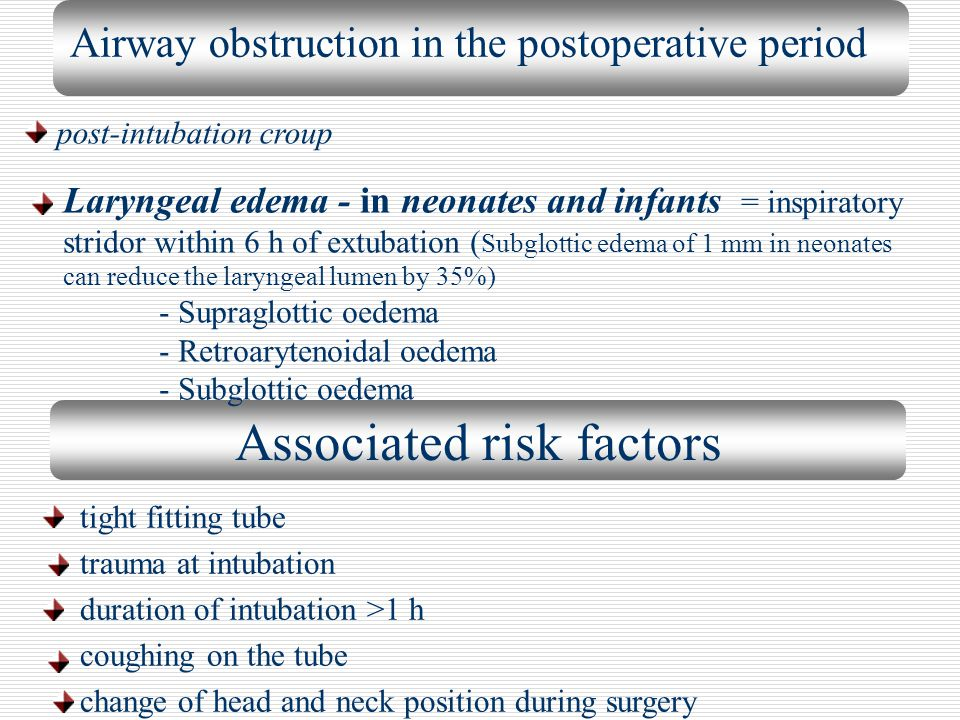 Airway obstruction in the postoperative period