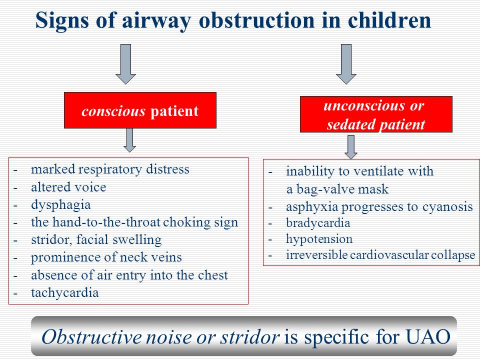 Signs of airway obstruction in children
