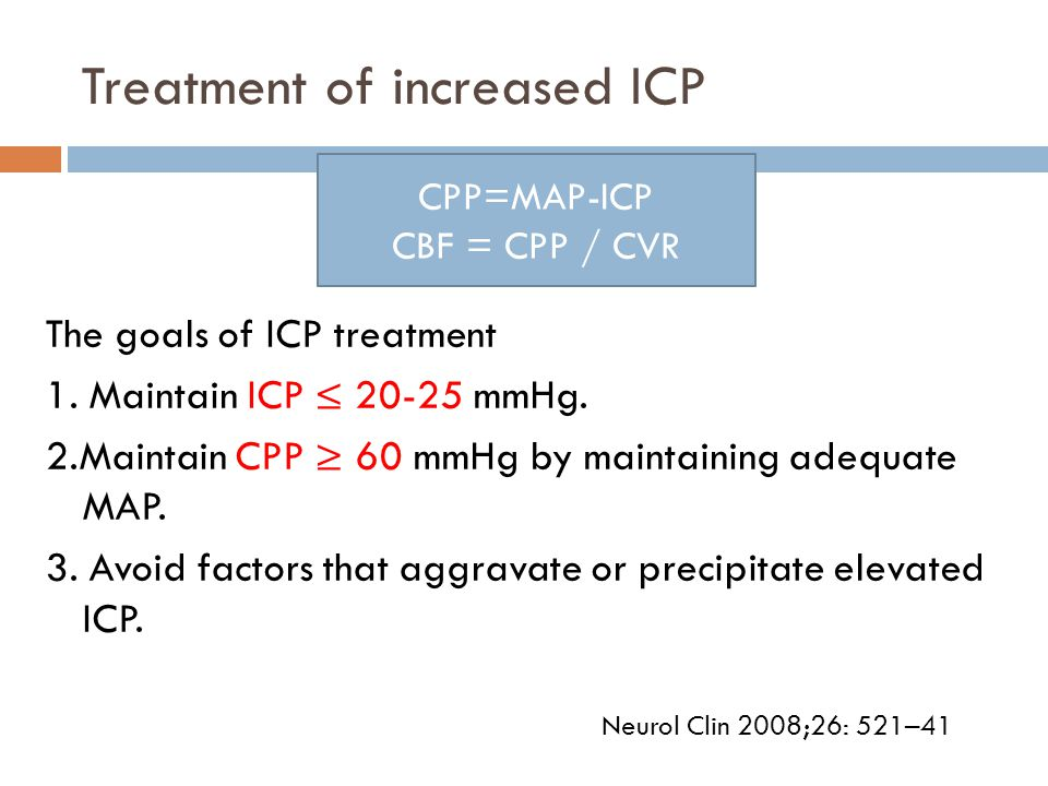 Treatment of increased ICP