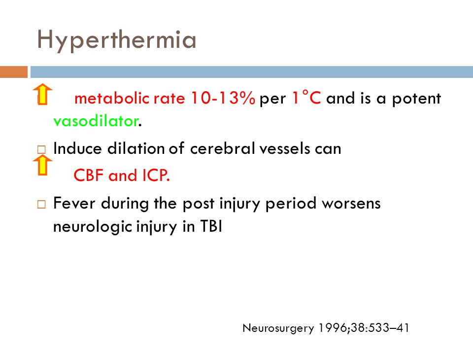 Hyperthermia metabolic rate 10-13% per 1°C and is a potent vasodilator. Induce dilation of cerebral vessels can.