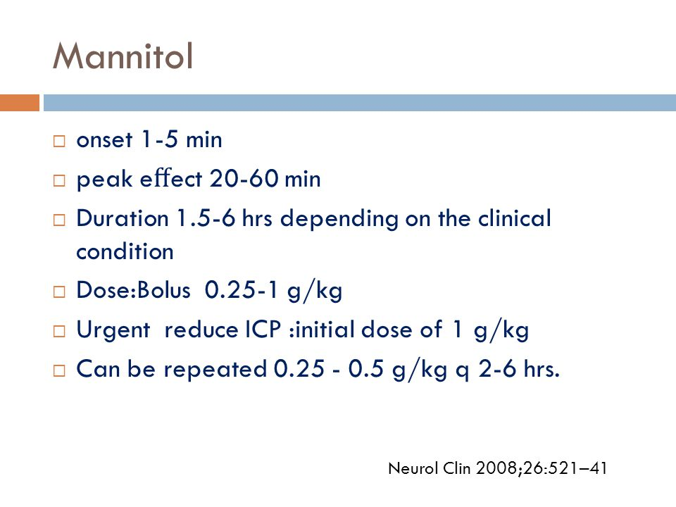 Mannitol onset 1-5 min peak effect 20-60 min