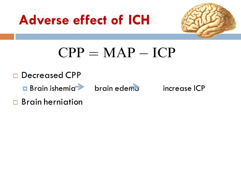 Adverse effect of ICH Decreased CPP Brain herniation